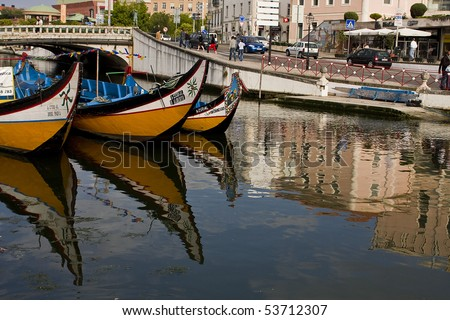 Boats from aveiro city in portugal