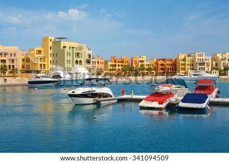 Boats in Abu Tig Marina. El Gouna, Red Sea, Egypt, North Africa - stock photo