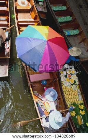 boats in Damnernsaduak floating market Thailand
