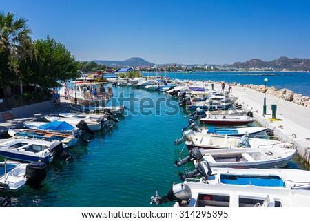 Boats in Faliraki Harbour  Rhodes Greece Europe - stock photo
