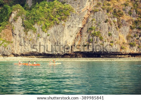 Boats in gorgeous Maya bay, Phi-Phi, Thailand. Image with selective focus and toning - stock photo