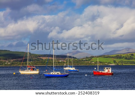 Boats in Gourock bay - stock photo