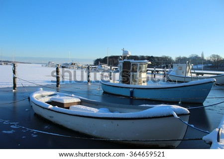 boats in harbor in denmark