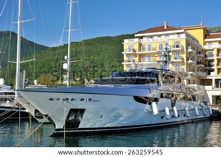 Boats in luxury marina