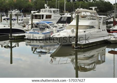 boats in marina - stock photo
