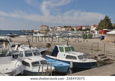 Boats in marina. Porec on Istria peninsula, Croatia. - stock photo