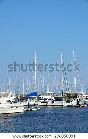 Boats in marina,Yokohama, Japan - stock photo