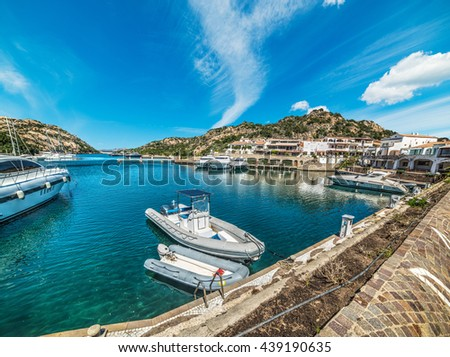 boats in Poltu Quatu harbor, Sardinia - stock photo