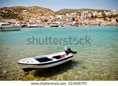 Boats in Pythagorion (or Pithagorio) harbour - stock photo