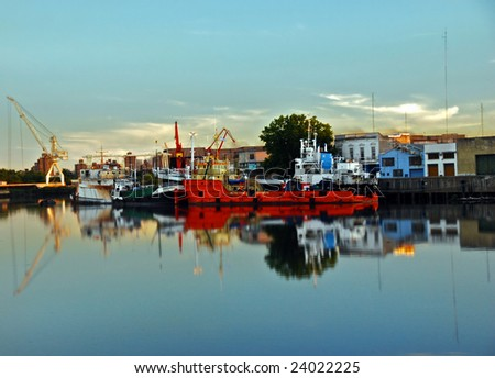 Boats in Riachuelo Shipyard in picturesque neighborhood of La Boca, in Buenos Aires, Argentina. - stock photo