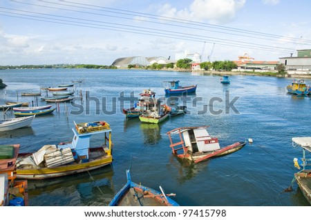 Boats in Rio Capibaribe - Recife - Brazil - stock photo
