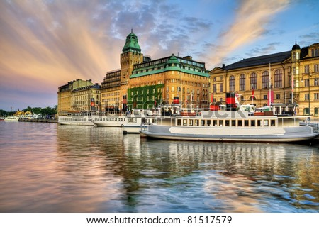 Boats in Stockholm. - stock photo