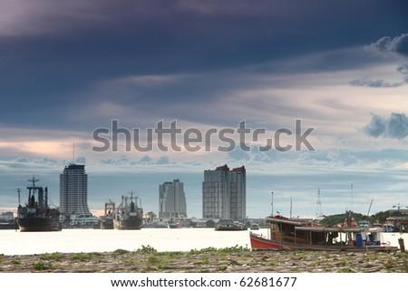 Boats in the Chao Phraya River - stock photo
