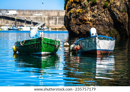 Boats in the fishing port from Cudillero, Asturias, Spain. - stock photo
