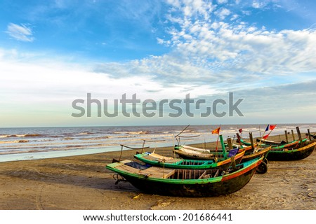 Boats in the fishing port of Haithinh, NamDinh. - stock photo