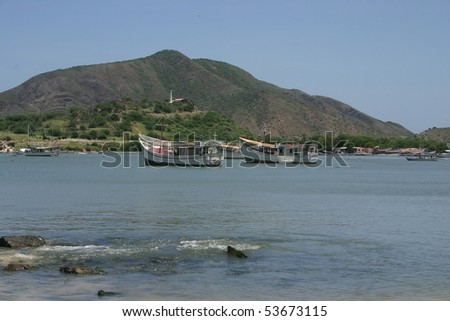 Boats in the harbor of Juan Griego on Isla de Margarita in Venezuela - stock photo