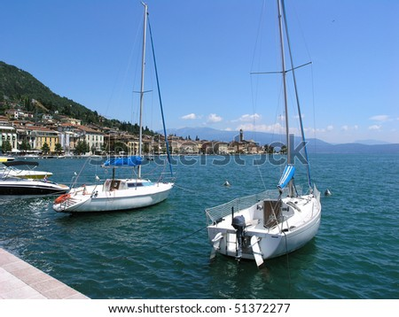 Boats in the harbor of Limone sul Garda at Lake Garda, Italy