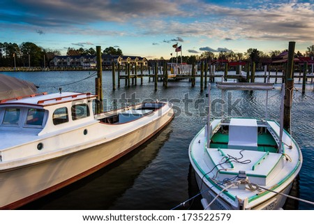 Boats in the harbor of St. Michael's, Maryland. - stock photo