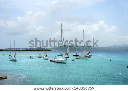 Boats in the island of Saint John, US Virgin Islands