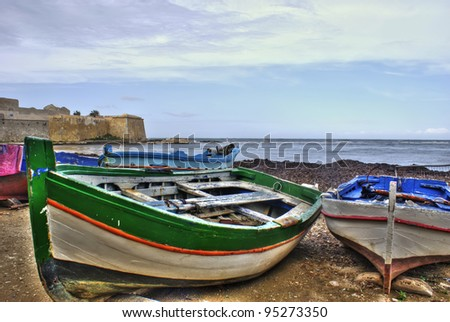 Boats in the marina of trapani in High Dynamic range. Sicily