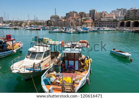 Boats in the old port of Heraklion. Crete, Greece, Europe - stock photo