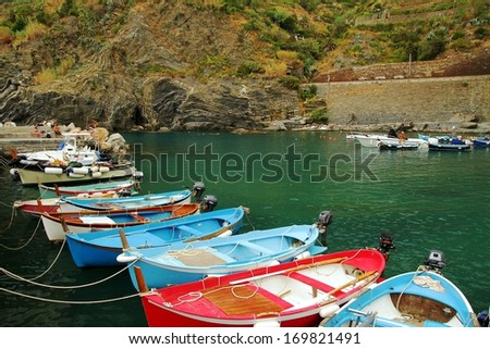 Boats in the port of Vernazza, Cinque Terre - stock photo