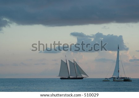 Boats in the sea, Keys West islands, Florida - stock photo