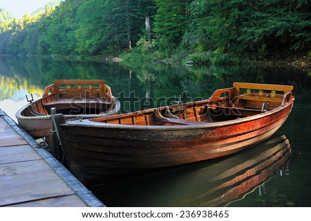 Boats lake forest - stock photo
