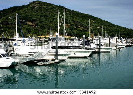 Boats lined up on Hamilton Island, a great get a way! - stock photo