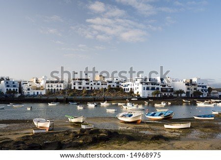 boats lying on the ground of the laguna Charco de San Gines at ebb tide