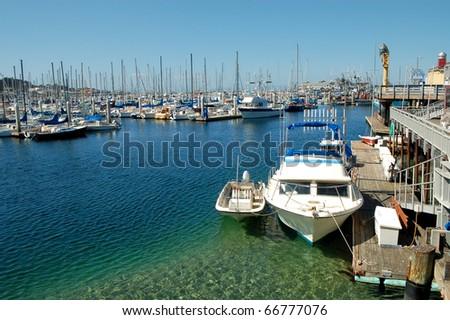 Boats; Monterey Bay; Monterey, California - stock photo