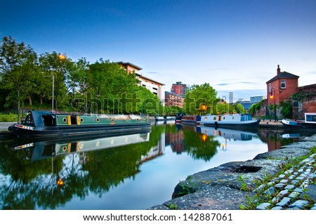 Boats moored at Castlefield Manchester. Image no 212. - stock photo