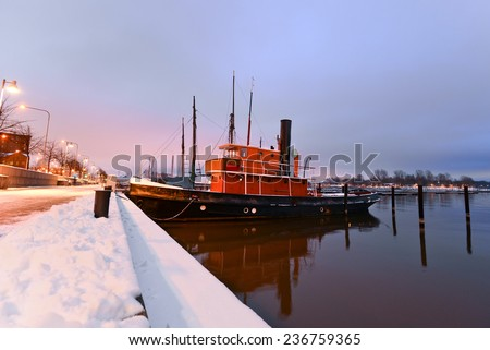 Boats moored in Helsinki in the winter, Finland/Boats moored in Helsinki/Boats moored in Helsinki, Finland - stock photo