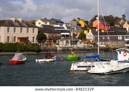 Boats moored in Kinsale harbour in County Cork Munster province Republic of Ireland Europe. - stock photo