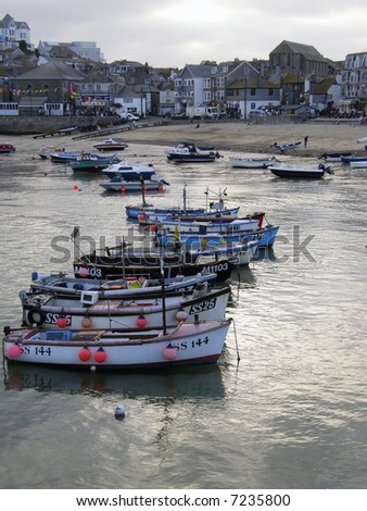 Boats moored in St Ives harbour, Cornwall, England - stock photo