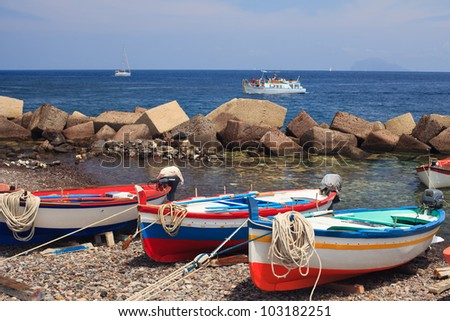 Boats moored on Salina, Aeolian Islands, Sicily - stock photo