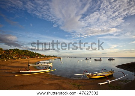 Boats near the beach and boats on the water - stock photo