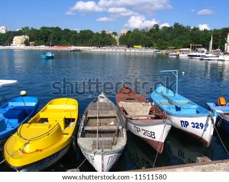 Boats of fishermen at a mooring. Soon on fishing. - stock photo