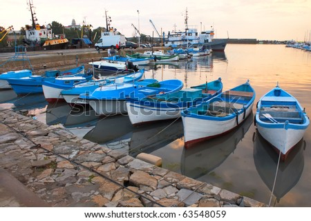 Boats on a evening near mooring