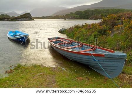Boats on lake in Killarney National Park, Co. Kerry - Ireland - stock photo
