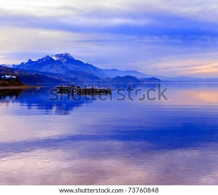 Boats on Lake Thun. Bernese Oberland. Switzerland. - stock photo