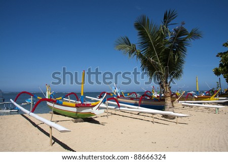 Boats on Sanur Beach, Bali - stock photo