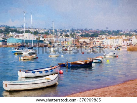 Boats on Teign river Teignmouth Devon tourist town colourful traditional English coastal scene illustration like oil painting