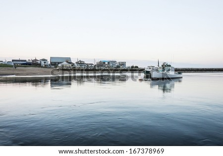 boats on the atlantic ocean in Camp Ellis, Maine, Usa