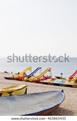 Boats on the beach in Lloret de Mar.Costa Brava,Spain.