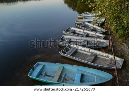 Boats on the lake. - stock photo