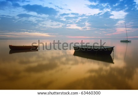 Boats on the lake from Hungary - stock photo