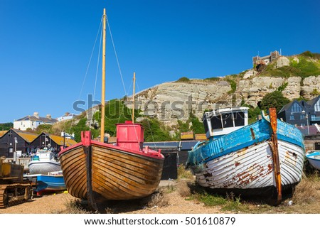 Boats on the shingle beach at Hastings East Sussex England UK Europe