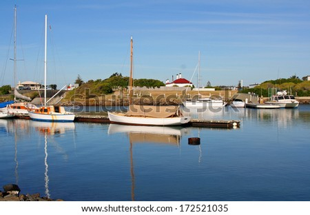 Boats on the Tamar River, Launceston, Tasmania, Australia - stock photo