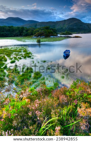 Boats on water in Killarney National Park, Republic of Ireland, Europe - stock photo